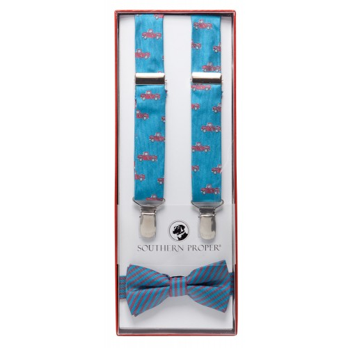 Blue Truck Bow Tie Set